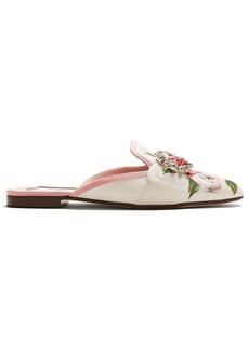 Dolce & Gabbana Crystal-embellished floral-print loafers