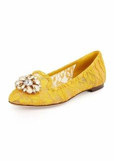 Dolce & Gabbana Crystal-Embellished Lace Loafer
