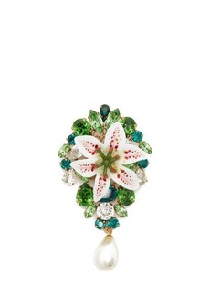 Dolce & Gabbana Crystal-embellished lily and pearl brooch