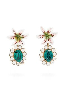 Dolce & Gabbana Crystal-embellished lily clip earrings