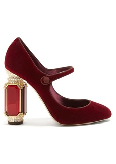 Dolce & Gabbana Crystal-embellished Mary-Jane velvet pumps