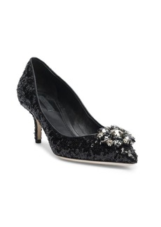 Dolce & Gabbana Crystal-Embellished Paillette Point Toe Pumps