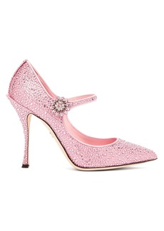 Dolce & Gabbana Crystal-embellished satin Mary-Jane pumps