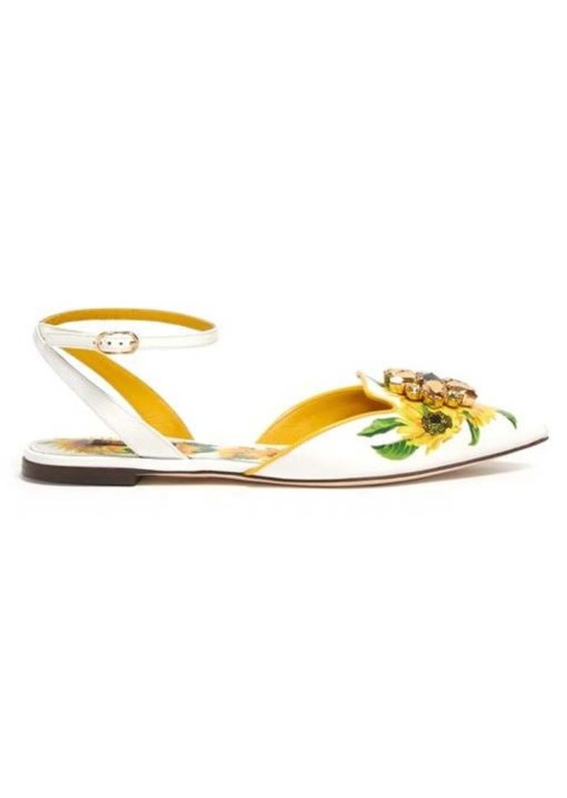 Dolce & Gabbana Crystal-embellished sunflower-print leather flats