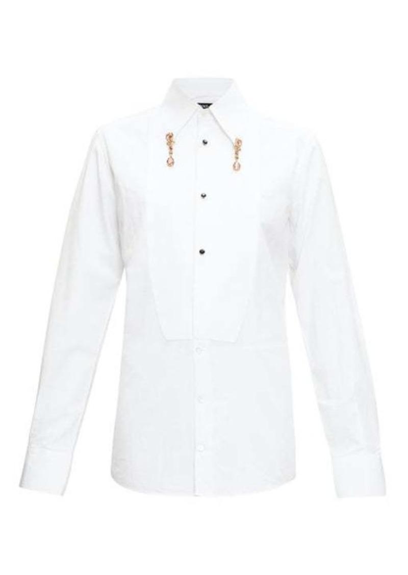 Dolce & Gabbana Crystal pendant cotton-poplin shirt