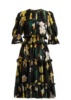 Dolce & Gabbana Daffodil-print silk crepe de Chine dress