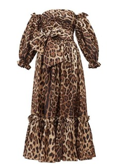 Dolce & Gabbana Detachable puffed-sleeve leopard-print midi dress