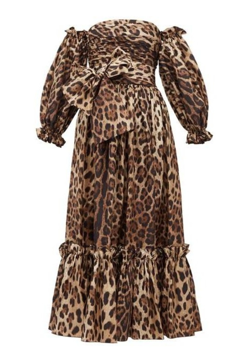Dolce & Gabbana Detachable puffed-sleeve leopard-print midi dress