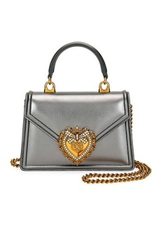 Dolce & Gabbana Devotion Mini Metallic Leather Top-Handle Bag
