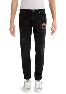 Dolce & Gabbana Distressed Heart Skinny Jeans