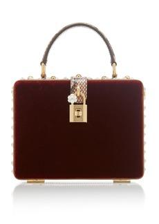 Dolce & Gabbana Dolce Box Crystal-Embellished Velvet Bag