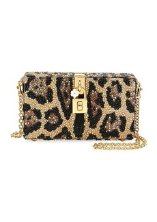 Dolce & Gabbana Dolce Leopard-Print Crystal Beaded Box Clutch Bag