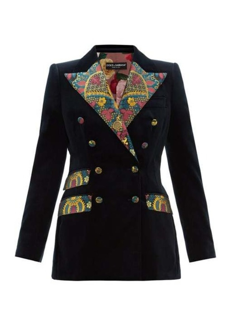 Dolce & Gabbana Double-breasted floral brocade and velvet blazer