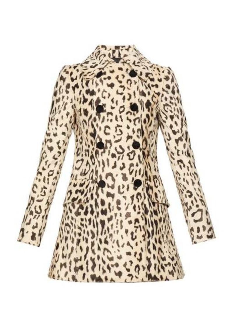 Dolce & Gabbana Double-breasted leopard-print faux-fur coat