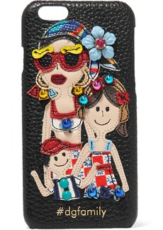 Dolce & Gabbana Embellished appliquéd textured-leather iPhone 7 case