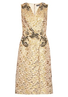 Dolce & Gabbana Embellished floral-brocade sleeveless dress