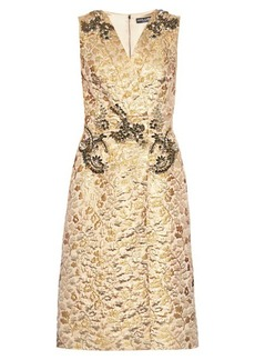 Dolce & Gabbana Embellished floral-brocade sleeveless dress