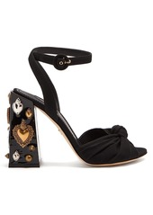 Dolce & Gabbana Embellished-heel twisted-satin sandals