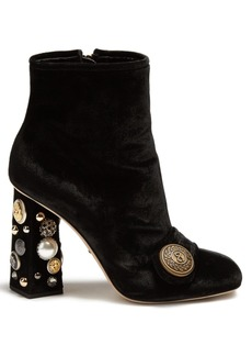 Dolce & Gabbana Embellished-heel velvet ankle boots