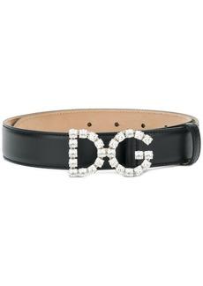 Dolce & Gabbana crystal-embellished logo buckle belt