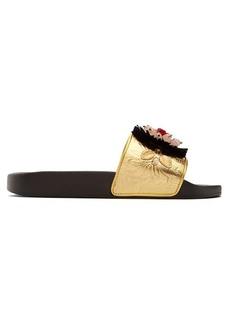 Dolce & Gabbana Embellished matelassé pool slides