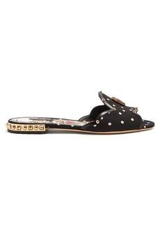 Dolce & Gabbana Embellished polka-dot print slides