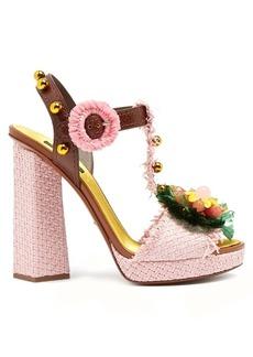 Dolce & Gabbana Embellished raffia block-heel sandals