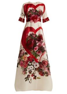 Dolce & Gabbana Embellished rose-print silk-organza gown