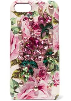 Dolce & Gabbana Embellished textured-leather iPhone 7 case