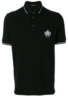 Dolce & Gabbana embroidered crown polo shirt - Black