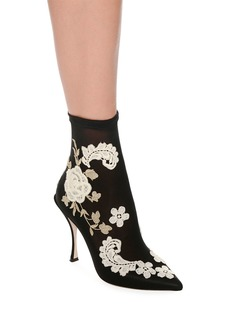 Dolce & Gabbana Embroidered-Knit Sock Ankle Booties