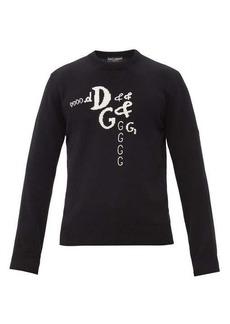 Dolce & Gabbana Embroidered logo-jacquard wool-blend sweater