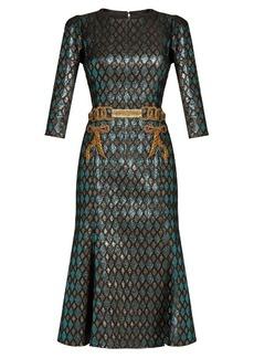 Dolce & Gabbana Embroidered-waist diamond-jacquard midi dress
