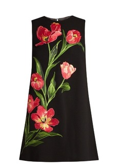Dolce & Gabbana Embroidered wool-blend mini dress