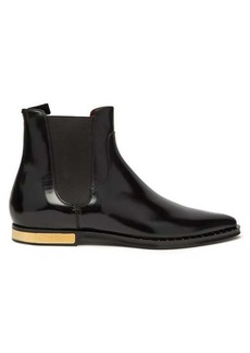 Dolce & Gabbana Engine-turned plaque leather Chelsea boots