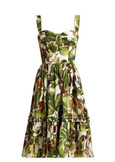 Dolce & Gabbana Fig-print cotton bustier dress