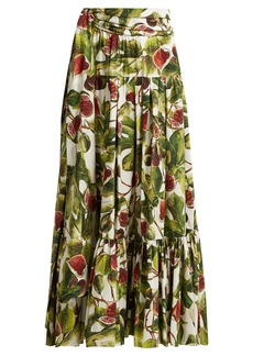 Dolce & Gabbana Fig-print cotton maxi skirt