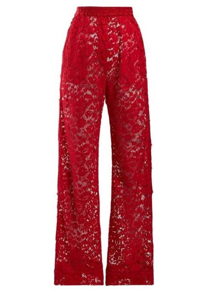 Dolce & Gabbana Flared chantilly-lace trousers