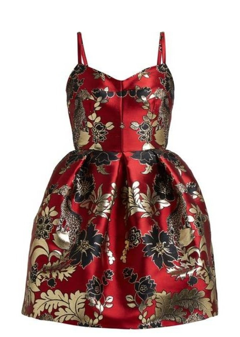 Dolce & Gabbana Floral and leopard-brocade mini dress