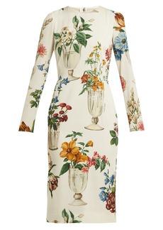 Dolce & Gabbana Floral and vase-print silk-blend crêpe dress