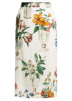 Dolce & Gabbana Floral and vase-print silk-blend pencil skirt