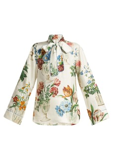 Dolce & Gabbana Floral and vase-print silk blouse