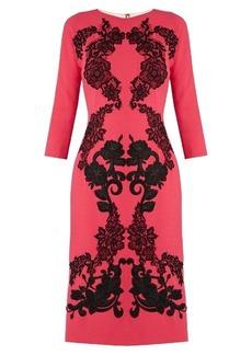 Dolce & Gabbana Floral-appliqué wool-crepe dress