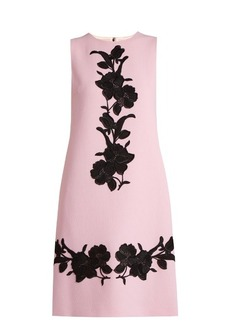 Dolce & Gabbana Floral-appliqué wool-crepe dress