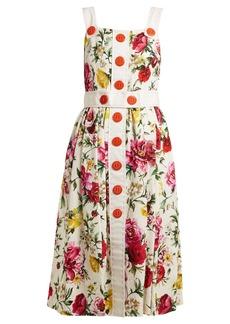 Dolce & Gabbana Floral-brocade button-detail midi dress