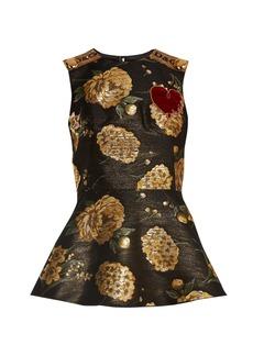 Dolce & Gabbana Floral-brocade peplum-hem top