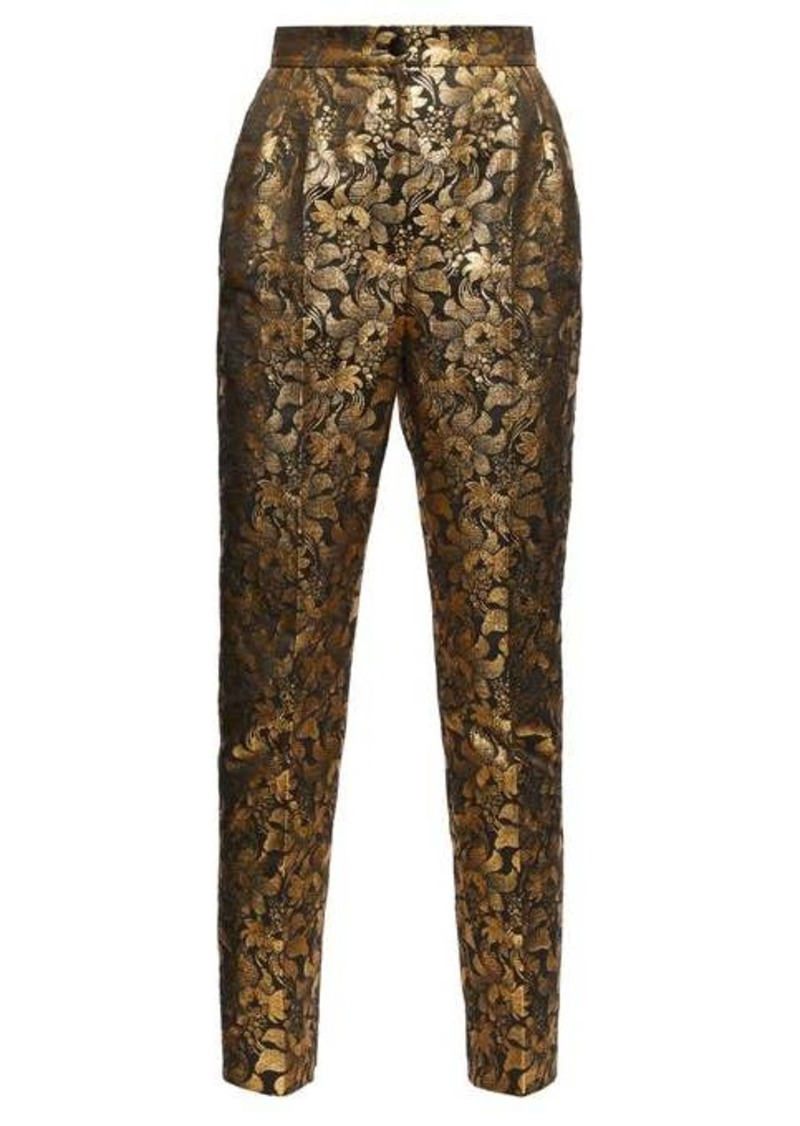 Dolce & Gabbana High-rise floral-brocade trousers