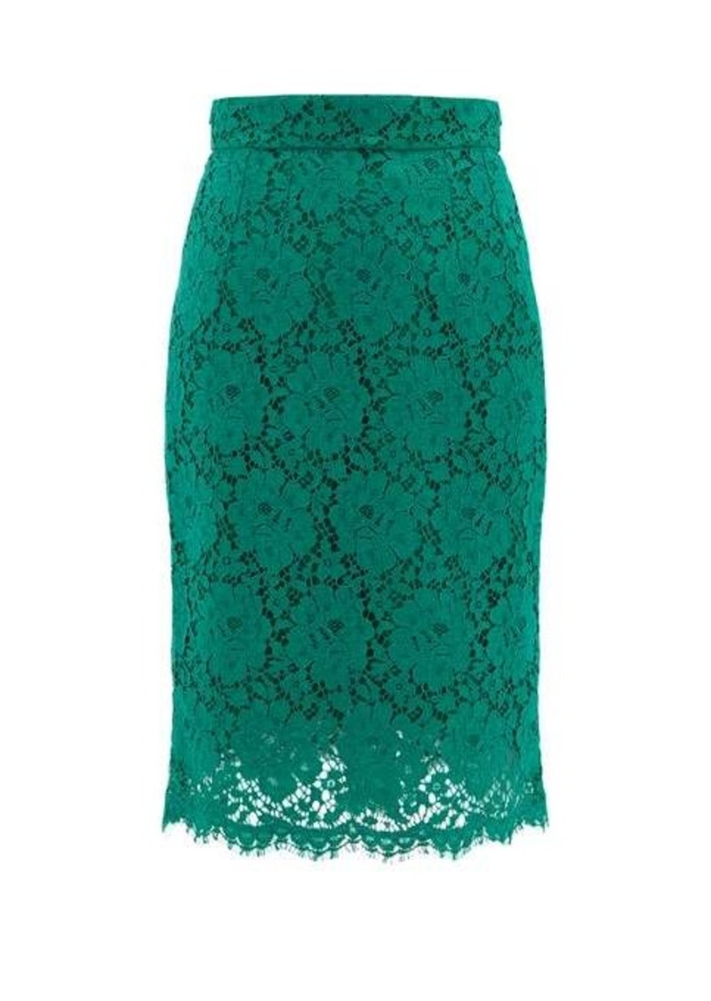 Dolce & Gabbana Floral cotton-blend guipure-lace skirt