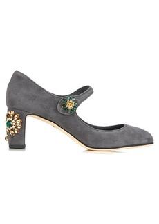 Dolce & Gabbana Floral-embellished suede pumps