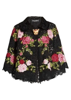 Dolce & Gabbana Floral-embroidered lace cape